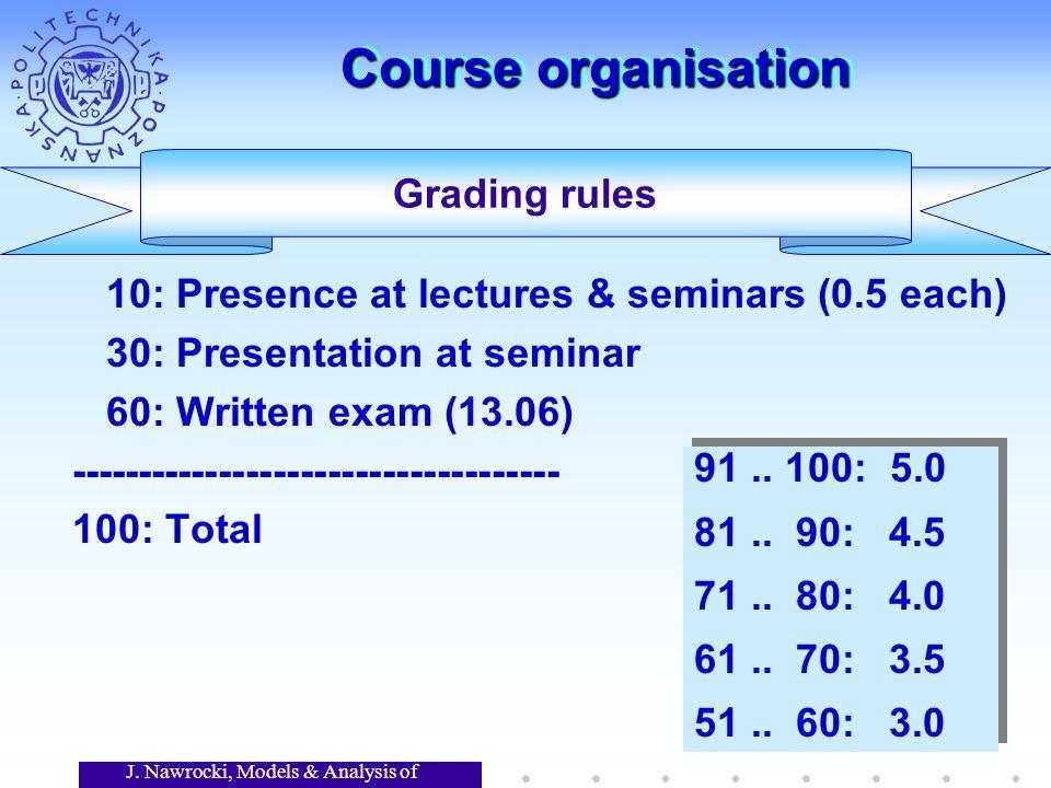 J. Nawrocki, Models & Analysis of Software Course organisation 10: Presence at lectures & seminars (0.5 each) 30: Presentation at seminar 60: Written