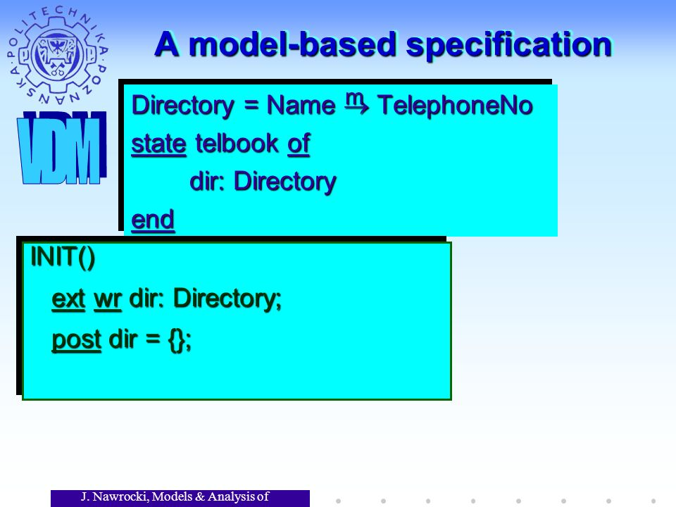 J. Nawrocki, Models & Analysis of Software A model-based specification Directory = Name TelephoneNo state telbook of dir: Directory dir: Directoryend