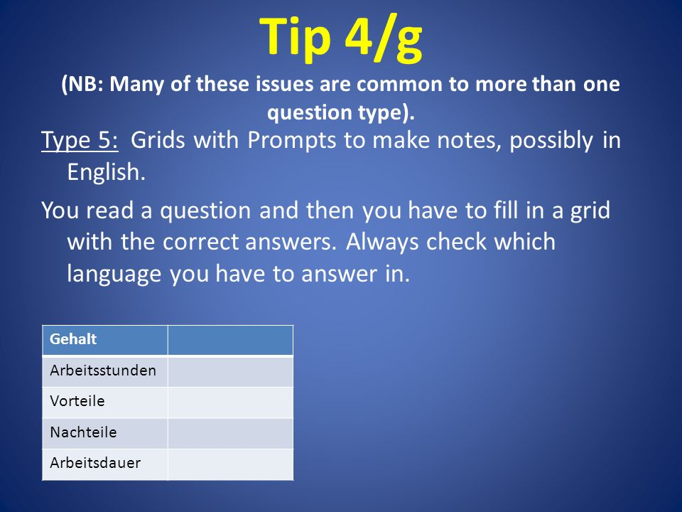 Tip 4/g (NB: Many of these issues are common to more than one question type).