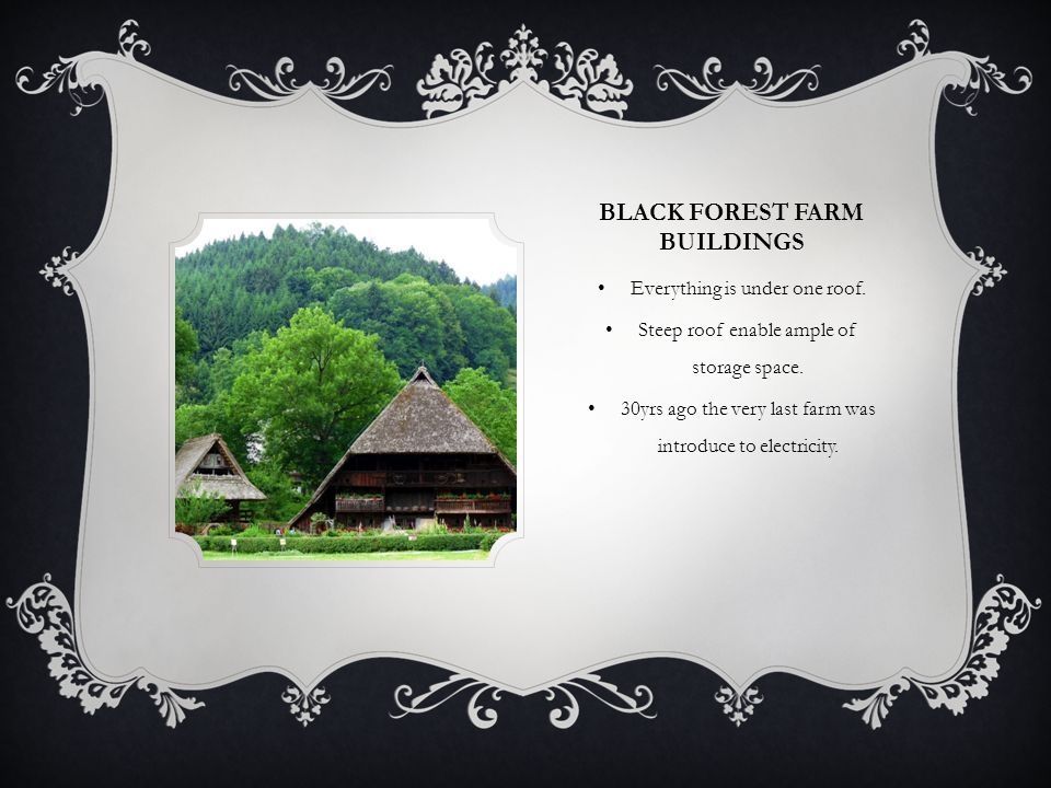 BLACK FOREST FARM BUILDINGS Everything is under one roof.