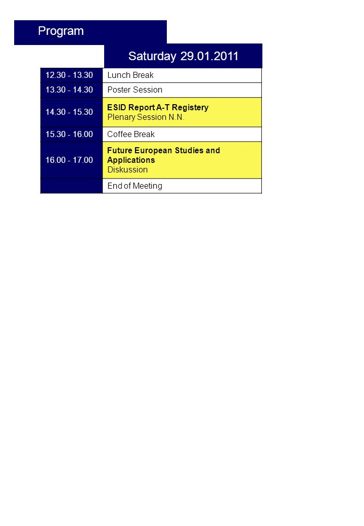 12.30 - 13.30Lunch Break 13.30 - 14.30Poster Session 14.30 - 15.30 ESID Report A-T Registery Plenary Session N.N.