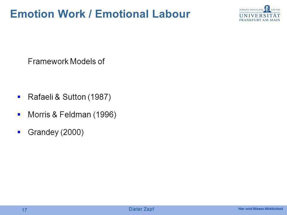 Hier wird Wissen Wirklichkeit Dieter Zapf 17 Framework Models of Rafaeli & Sutton (1987) Morris & Feldman (1996) Grandey (2000) Emotion Work / Emotion