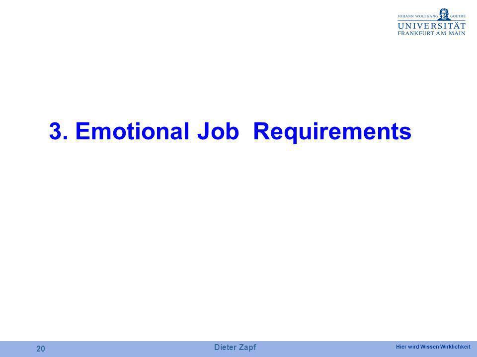 Hier wird Wissen Wirklichkeit Dieter Zapf 20 3. Emotional Job Requirements