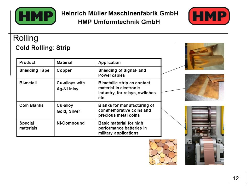 12 Heinrich Müller Maschinenfabrik GmbH HMP Umformtechnik GmbH Cold Rolling: Strip ProductMaterialApplication Shielding TapeCopperShielding of Signal- and Power cables Bi-metallCu-alloys with Ag-Ni inlay Bimetallic strip as contact material in electronic industry, for relays, switches etc.