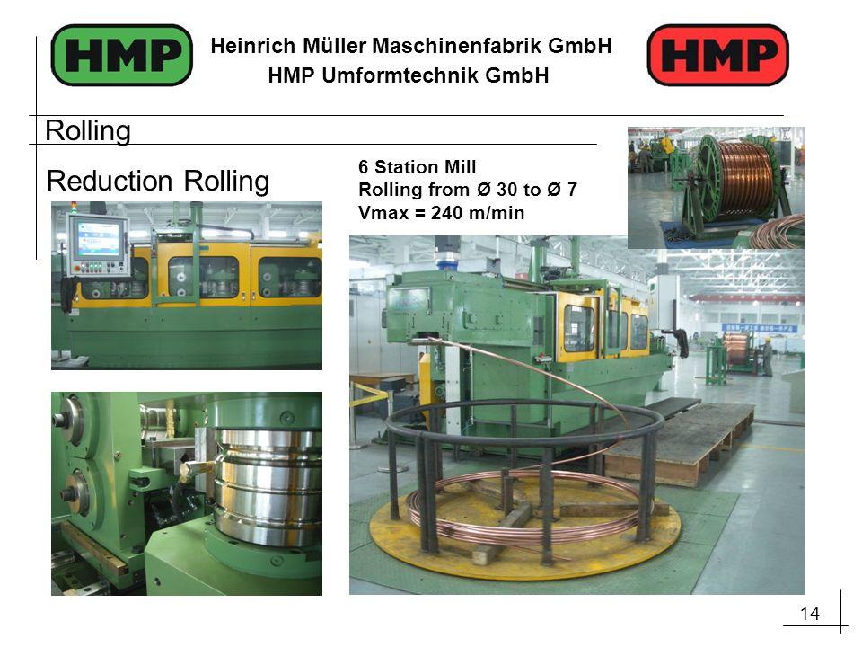 14 Heinrich Müller Maschinenfabrik GmbH HMP Umformtechnik GmbH Rolling Reduction Rolling 6 Station Mill Rolling from Ø 30 to Ø 7 Vmax = 240 m/min