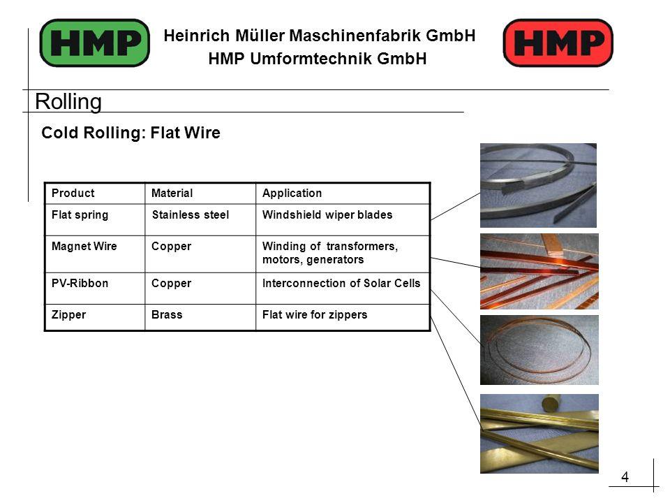 4 Heinrich Müller Maschinenfabrik GmbH HMP Umformtechnik GmbH Cold Rolling: Flat Wire ProductMaterialApplication Flat springStainless steelWindshield