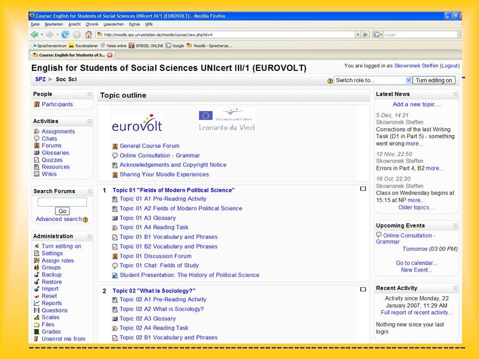 ---------------------------------------------------------------------------- 6. Beispiele für VLE-Inhalte Reading tasks and glossary (help and additio