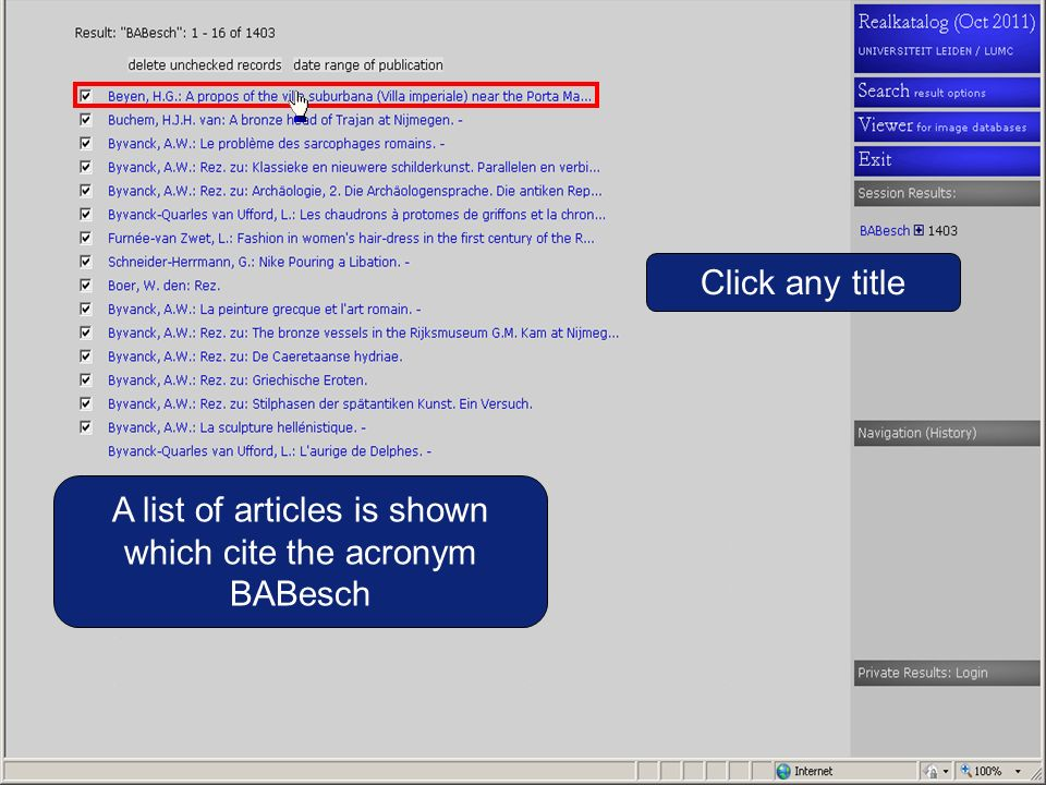 A list of articles is shown which cite the acronym BABesch Click any title