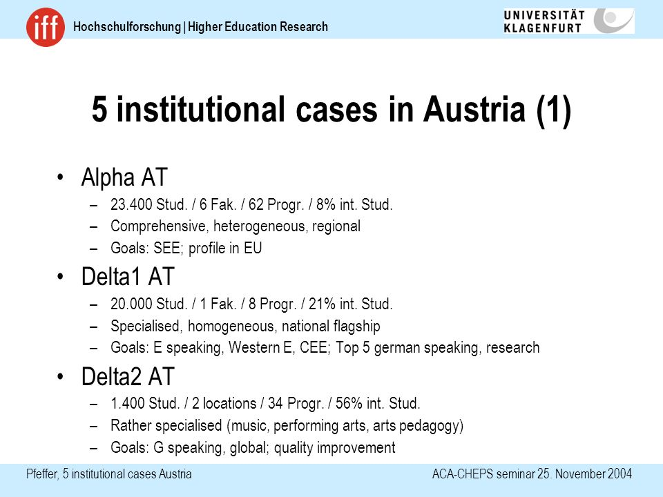 Hochschulforschung | Higher Education Research Pfeffer, 5 institutional casesAustria ACA-CHEPS seminar 25.