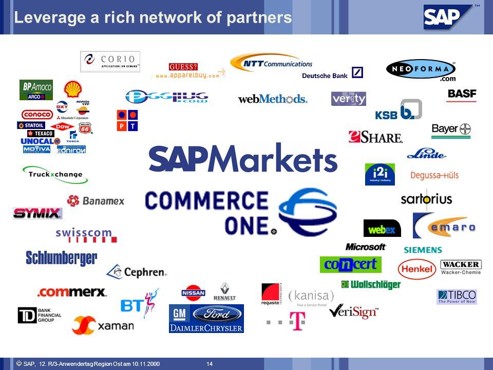 SAP, 12. R/3-Anwendertag Region Ost am 10.11.2000 14 Leverage a rich network of partners