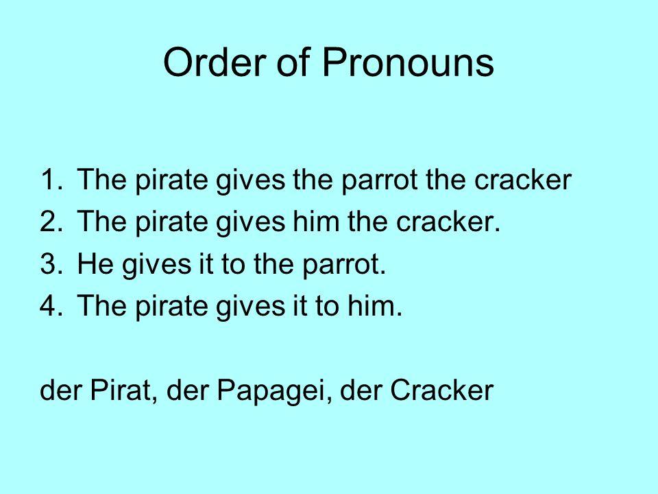 Bellwork- Tag 25 Substitute a pronoun for the underlined word. 1.Der Pirat segelt mit dem Boot. 2.Der Pirat segelt in der Caribbean See. 3.Der Pirat h
