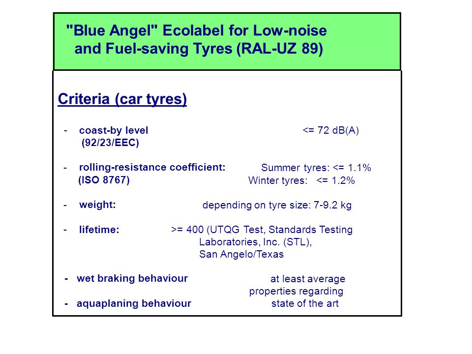 Blue Angel Ecolabel for Low-noise and Fuel-saving Tyres (RAL-UZ 89) Criteria (car tyres) - coast-by level <= 72 dB(A) (92/23/EEC) - rolling-resistance coefficient: Summer tyres: <= 1.1% (ISO 8767) Winter tyres: <= 1.2% - weight: depending on tyre size: 7-9.2 kg - lifetime: >= 400 (UTQG Test, Standards Testing Laboratories, Inc.