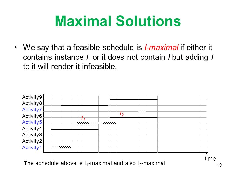 19 Maximal Solutions We say that a feasible schedule is I-maximal if either it contains instance I, or it does not contain I but adding I to it will render it infeasible.