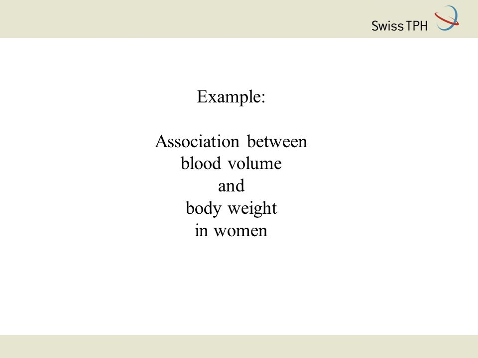 Example: Association between blood volume and body weight in women