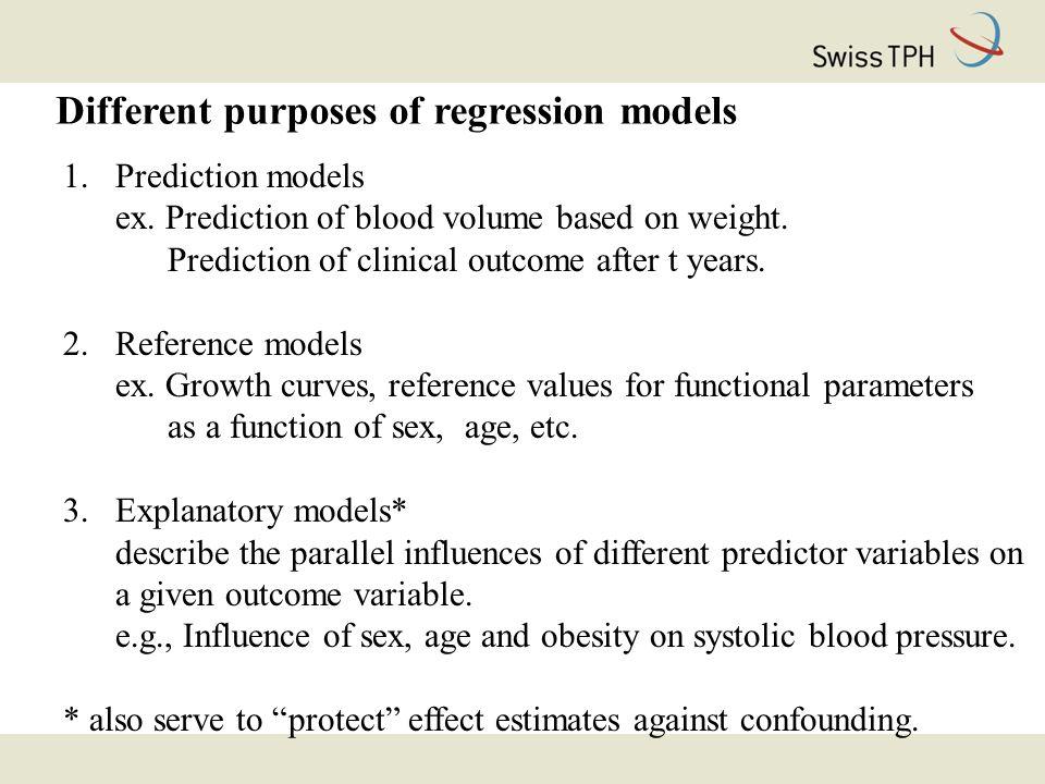 Different purposes of regression models 1.Prediction models ex.