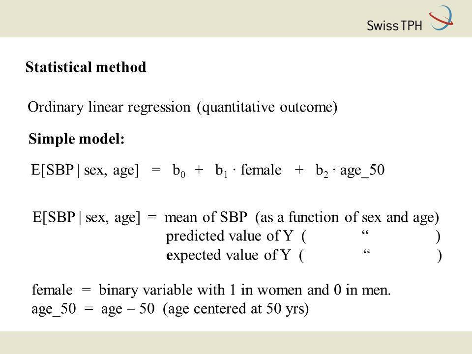 Statistical method Ordinary linear regression (quantitative outcome) Simple model: E[SBP | sex, age] = b 0 + b 1 · female + b 2 · age_50 female = binary variable with 1 in women and 0 in men.