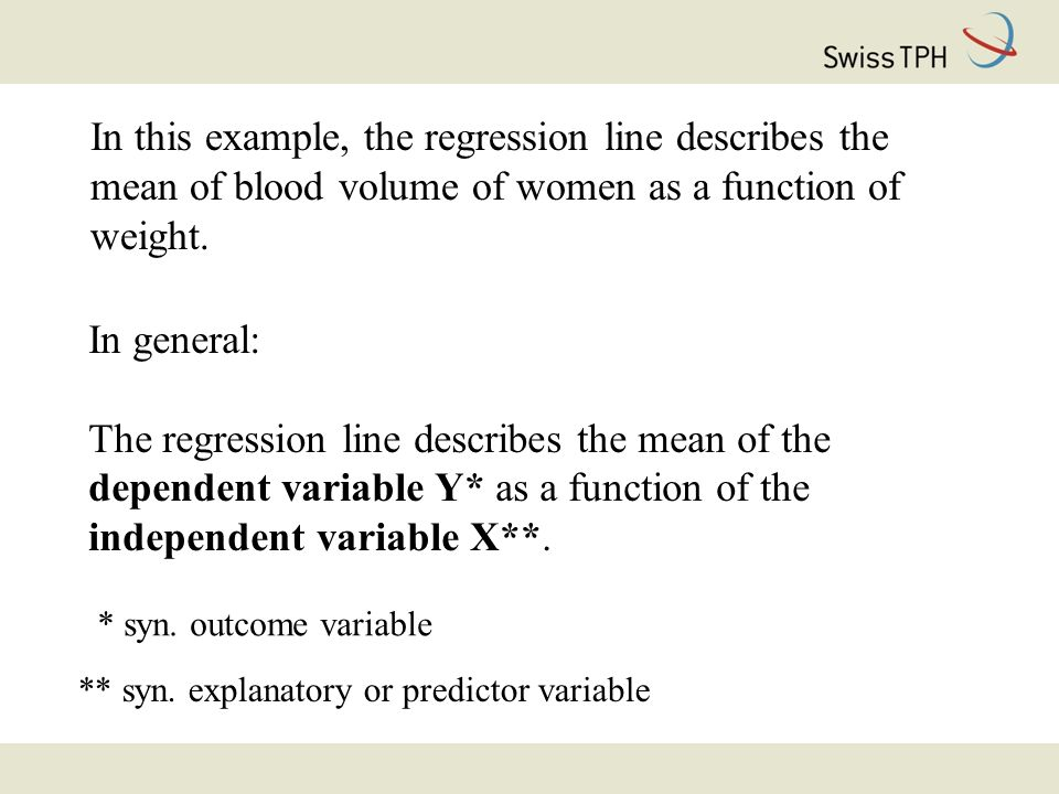 In this example, the regression line describes the mean of blood volume of women as a function of weight.
