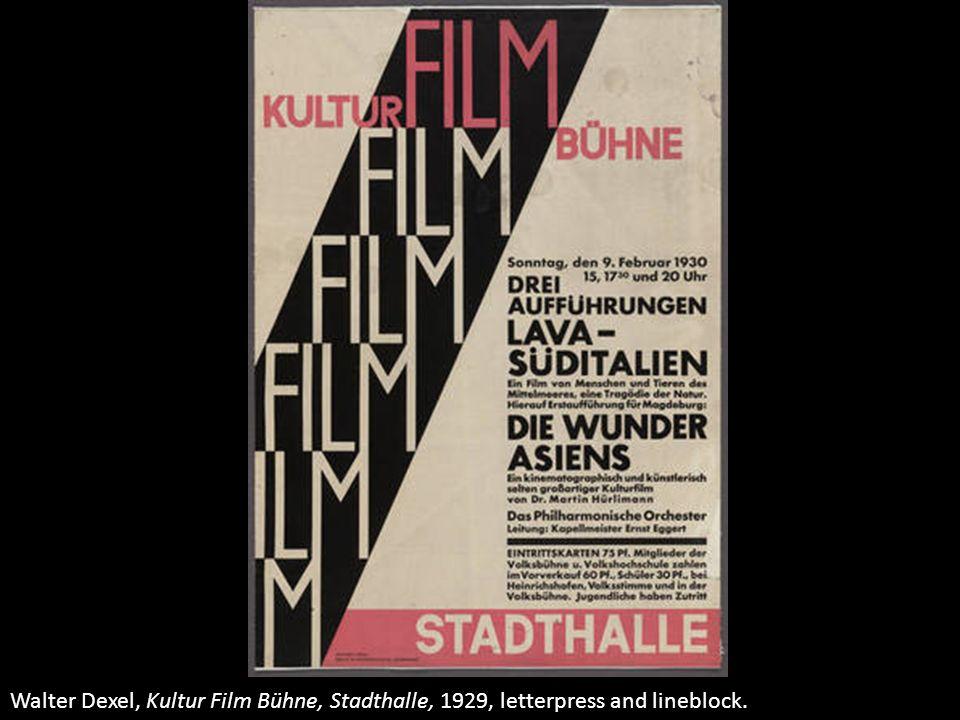 Walter Dexel, Kultur Film Bühne, Stadthalle, 1929, letterpress and lineblock.