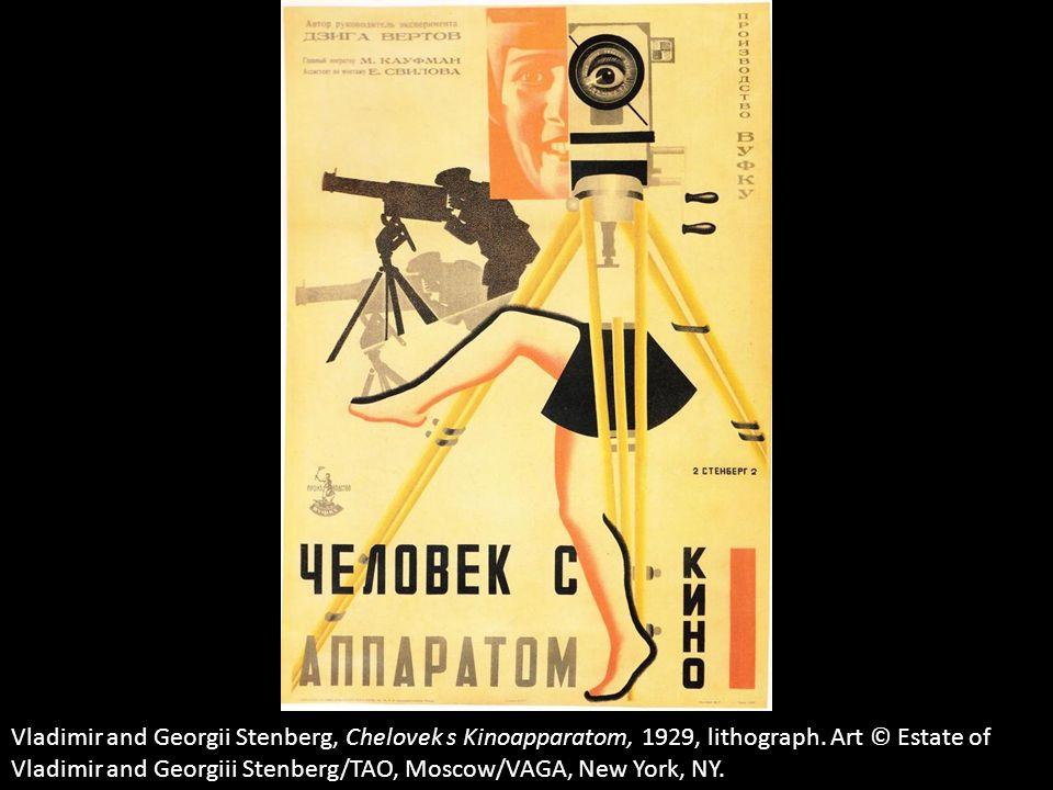 Vladimir and Georgii Stenberg, Chelovek s Kinoapparatom, 1929, lithograph. Art © Estate of Vladimir and Georgiii Stenberg/TAO, Moscow/VAGA, New York,