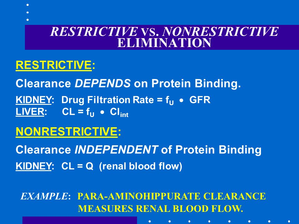 RESTRICTIVE VS. NONRESTRICTIVE ELIMINATION RESTRICTIVE: Clearance DEPENDS on Protein Binding. KIDNEY: Drug Filtration Rate = f U GFR LIVER: CL = f U C