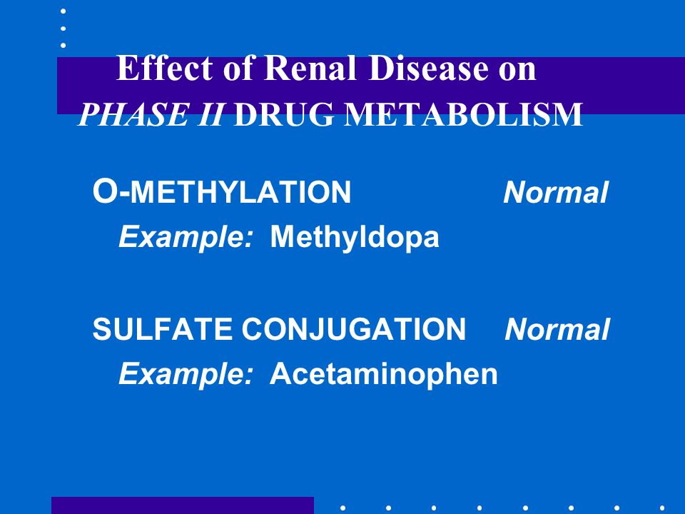Effect of Renal Disease on PHASE II DRUG METABOLISM O- METHYLATION Normal Example: Methyldopa SULFATE CONJUGATION Normal Example: Acetaminophen