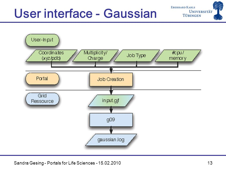 Sandra Gesing - Portals for Life Sciences - 15.02.2010 13 User interface - Gaussian