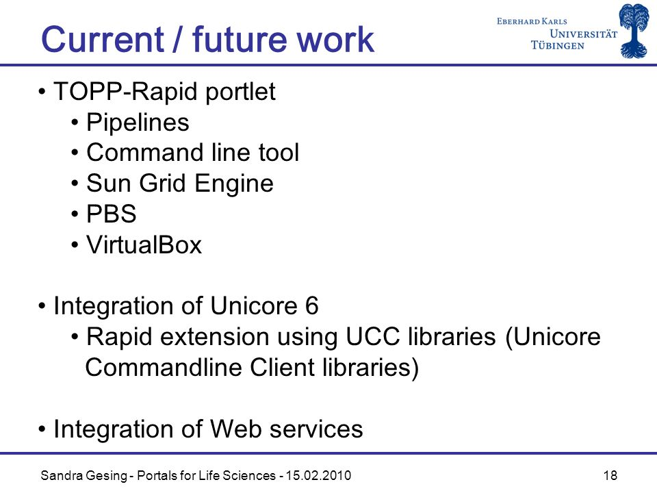 Sandra Gesing - Portals for Life Sciences - 15.02.2010 18 Current / future work TOPP-Rapid portlet Pipelines Command line tool Sun Grid Engine PBS Vir