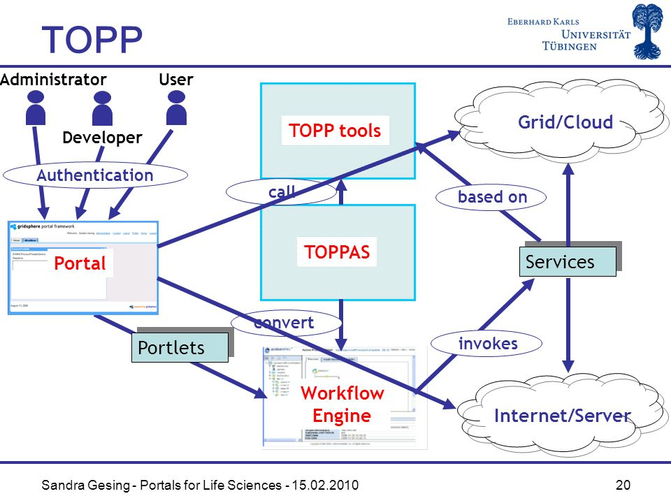 Sandra Gesing - Portals for Life Sciences - 15.02.2010 20 Workflow Engine Services Portal Internet/Server Administrator Grid/Cloud Developer User Portlets Authentication invokes TOPP TOPPAS TOPP tools based on call convert