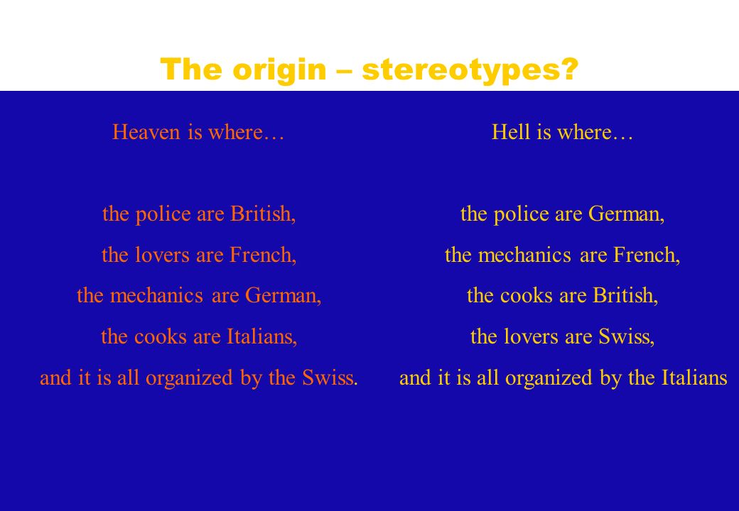 Hell is where… the police are German, the mechanics are French, the cooks are British, the lovers are Swiss, and it is all organized by the Italians H