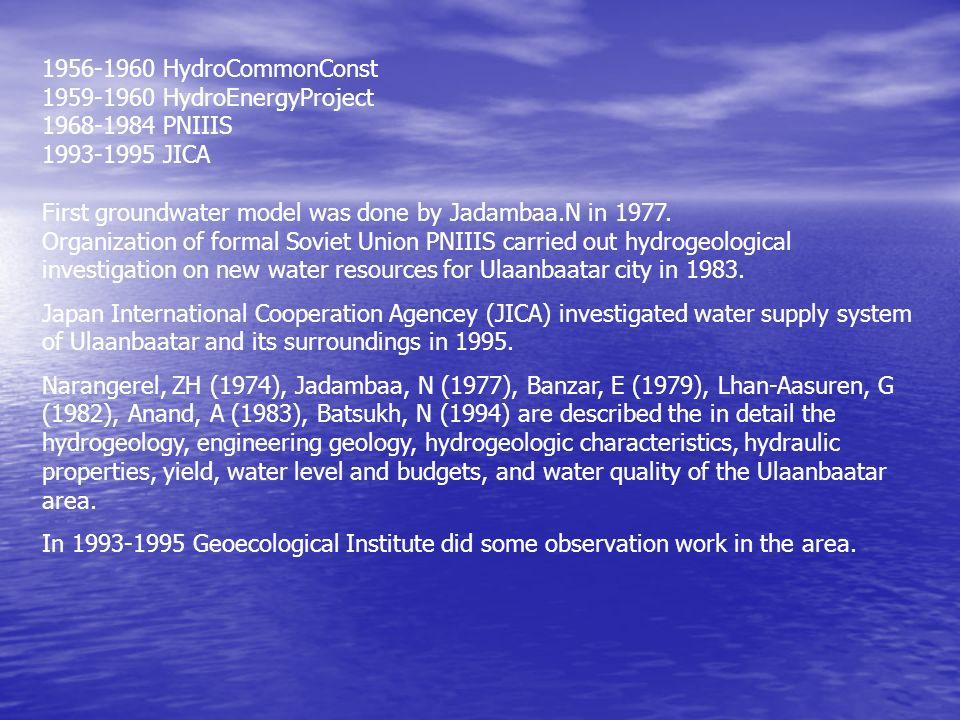 1956-1960 HydroCommonConst 1959-1960 HydroEnergyProject 1968-1984 PNIIIS 1993-1995 JICA First groundwater model was done by Jadambaa.N in 1977. Organi