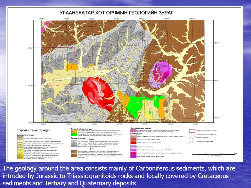 The geology around the area consists mainly of Carboniferous sediments, which are intruded by Jurassic to Triassic granitoids rocks and locally covere