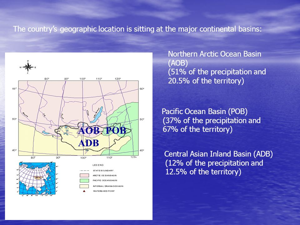The countrys geographic location is sitting at the major continental basins: AOB ADB Pacific Ocean Basin (POB) (37% of the precipitation and 67% of th