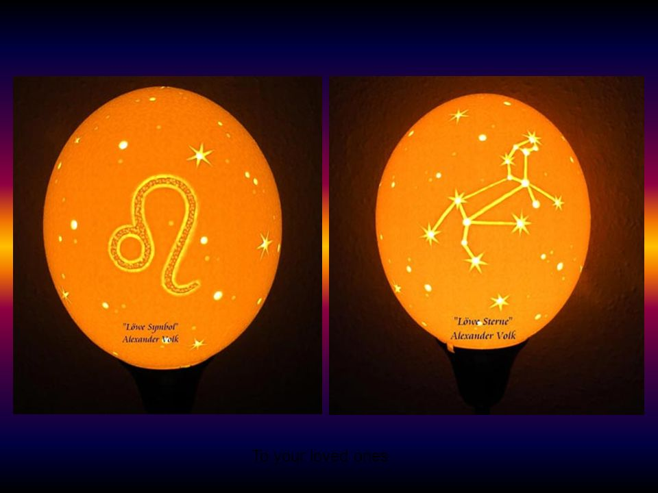 Zodiac lamps, made from the shells of ostrich eggs