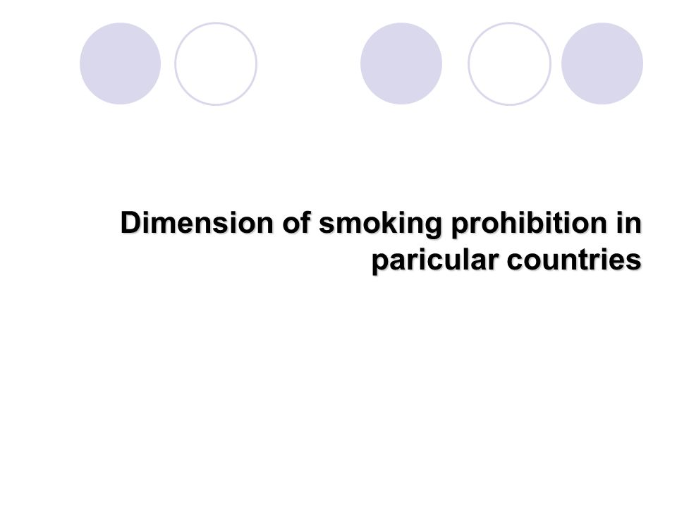 Dimension of smoking prohibition in paricular countries