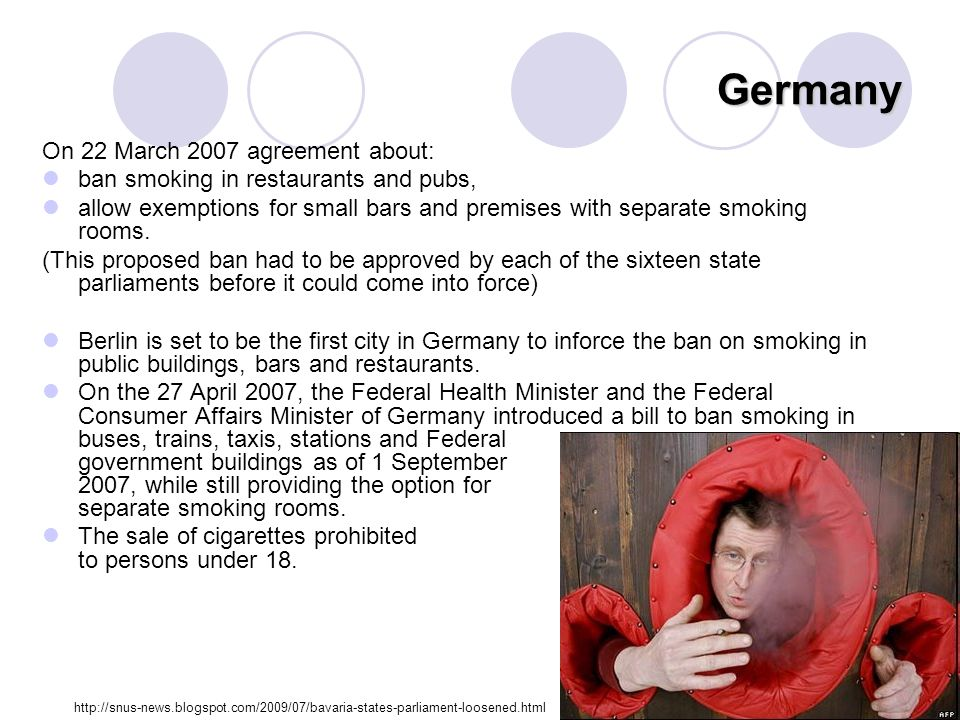 Germany On 22 March 2007 agreement about: ban smoking in restaurants and pubs, allow exemptions for small bars and premises with separate smoking rooms.