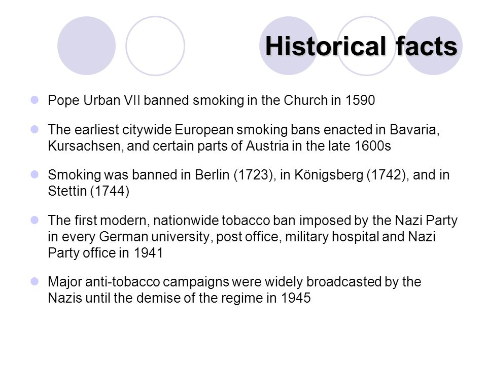 Historical facts Pope Urban VII banned smoking in the Church in 1590 The earliest citywide European smoking bans enacted in Bavaria, Kursachsen, and certain parts of Austria in the late 1600s Smoking was banned in Berlin (1723), in Königsberg (1742), and in Stettin (1744) The first modern, nationwide tobacco ban imposed by the Nazi Party in every German university, post office, military hospital and Nazi Party office in 1941 Major anti-tobacco campaigns were widely broadcasted by the Nazis until the demise of the regime in 1945