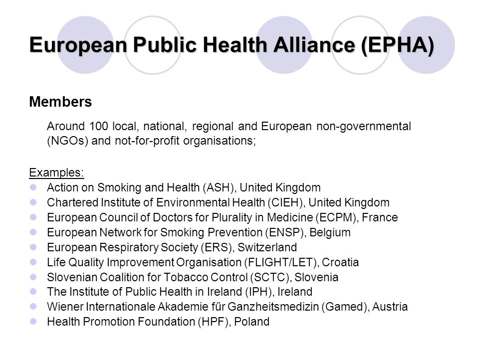 European Public Health Alliance (EPHA) Members Around 100 local, national, regional and European non-governmental (NGOs) and not-for-profit organisations; Examples: Action on Smoking and Health (ASH), United Kingdom Chartered Institute of Environmental Health (CIEH), United Kingdom European Council of Doctors for Plurality in Medicine (ECPM), France European Network for Smoking Prevention (ENSP), Belgium European Respiratory Society (ERS), Switzerland Life Quality Improvement Organisation (FLIGHT/LET), Croatia Slovenian Coalition for Tobacco Control (SCTC), Slovenia The Institute of Public Health in Ireland (IPH), Ireland Wiener Internationale Akademie fűr Ganzheitsmedizin (Gamed), Austria Health Promotion Foundation (HPF), Poland