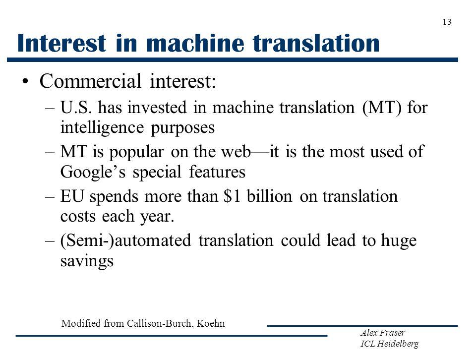 Alex Fraser ICL Heidelberg Interest in machine translation Commercial interest: –U.S. has invested in machine translation (MT) for intelligence purpos