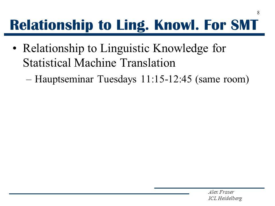Alex Fraser ICL Heidelberg Relationship to Ling. Knowl. For SMT Relationship to Linguistic Knowledge for Statistical Machine Translation –Hauptseminar