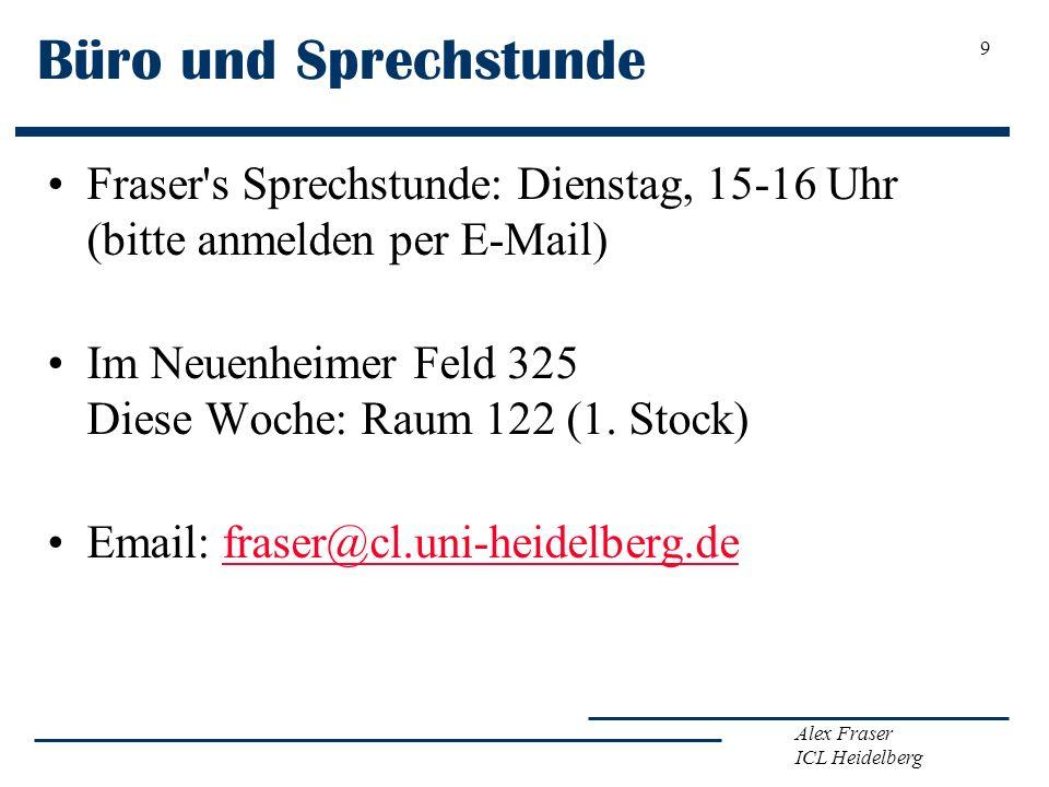 Alex Fraser ICL Heidelberg Büro und Sprechstunde Fraser's Sprechstunde: Dienstag, 15-16 Uhr (bitte anmelden per E-Mail) Im Neuenheimer Feld 325 Diese