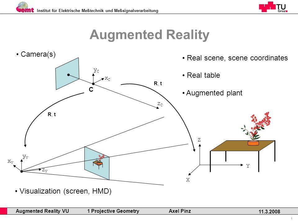 Institut für Elektrische Meßtechnik und Meßsignalverarbeitung Professor Horst Cerjak, 19.12.2005 1 11.3.2008 Augmented Reality VU 1 Projective Geometry Axel Pinz Augmented Reality X Y Z Real scene, scene coordinates C xCxC yCyC zCzC R, t Camera(s) xVxV yVyV zVzV Visualization (screen, HMD) R, t Real table Augmented plant