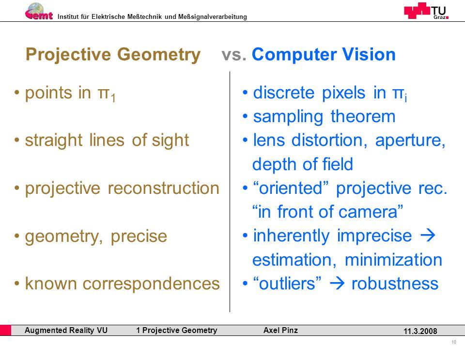 Institut für Elektrische Meßtechnik und Meßsignalverarbeitung Professor Horst Cerjak, 19.12.2005 10 11.3.2008 Augmented Reality VU 1 Projective Geometry Axel Pinz Projective Geometry vs.