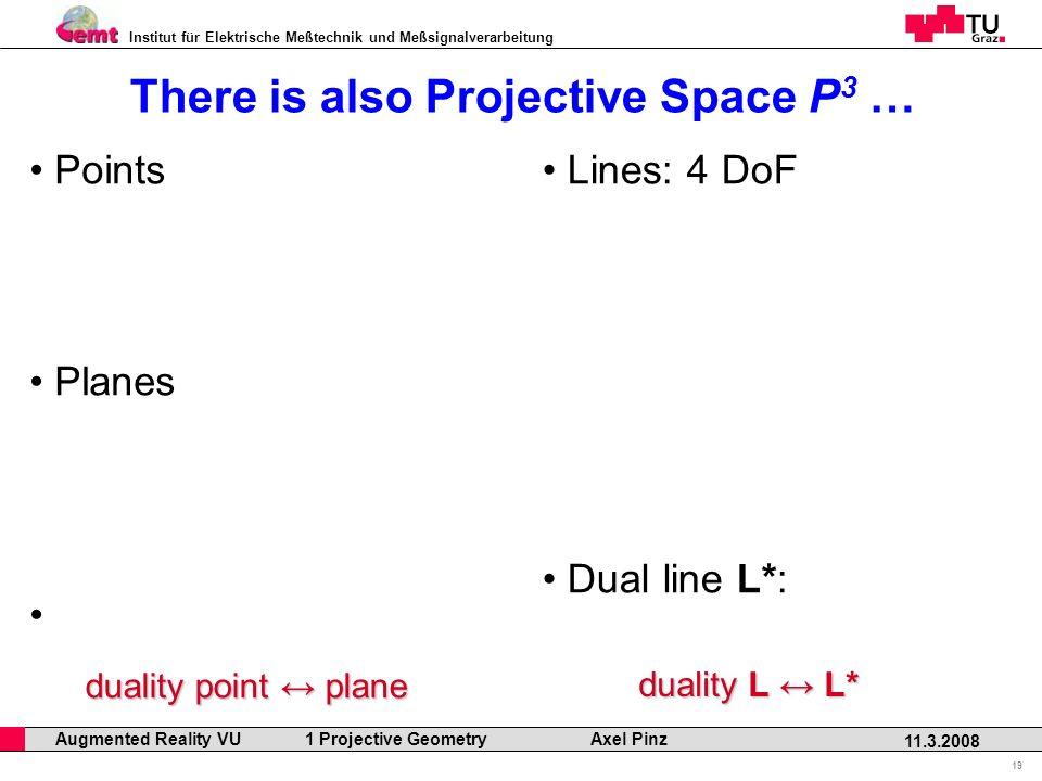 Institut für Elektrische Meßtechnik und Meßsignalverarbeitung Professor Horst Cerjak, 19.12.2005 19 11.3.2008 Augmented Reality VU 1 Projective Geometry Axel Pinz There is also Projective Space P 3 … Points Planes Lines: 4 DoF Dual line L*: duality point plane duality L L*