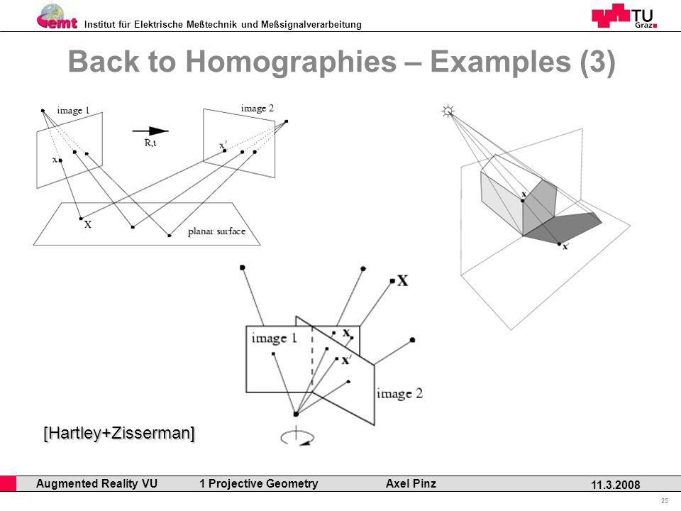 Institut für Elektrische Meßtechnik und Meßsignalverarbeitung Professor Horst Cerjak, 19.12.2005 25 11.3.2008 Augmented Reality VU 1 Projective Geometry Axel Pinz Back to Homographies – Examples (3) [Hartley+Zisserman]