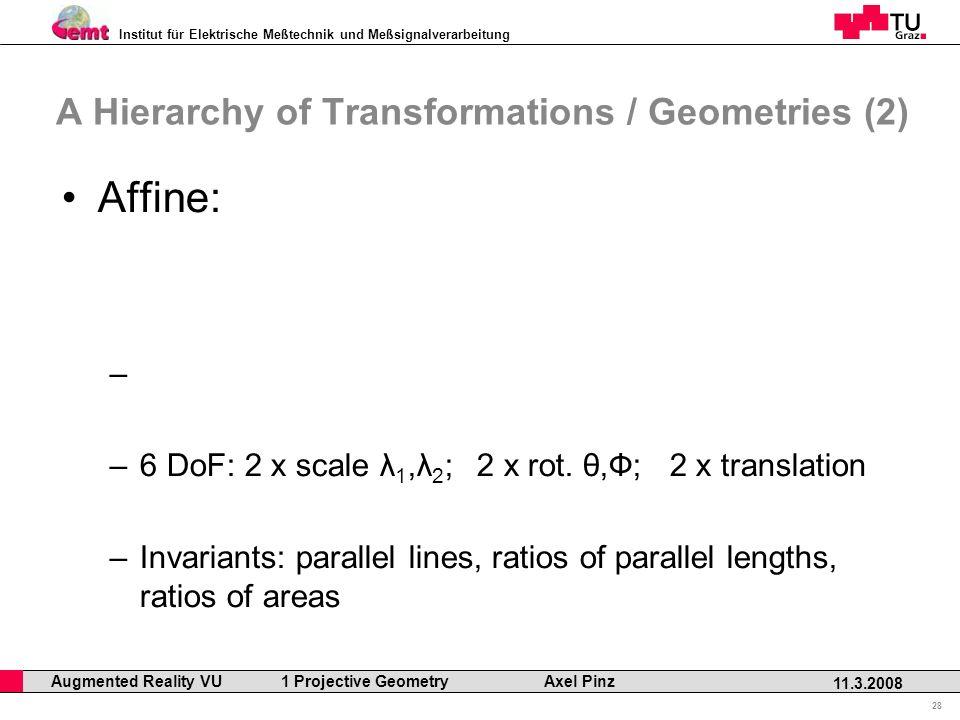 Institut für Elektrische Meßtechnik und Meßsignalverarbeitung Professor Horst Cerjak, 19.12.2005 28 11.3.2008 Augmented Reality VU 1 Projective Geometry Axel Pinz A Hierarchy of Transformations / Geometries (2) Affine: – –6 DoF: 2 x scale λ 1,λ 2 ; 2 x rot.