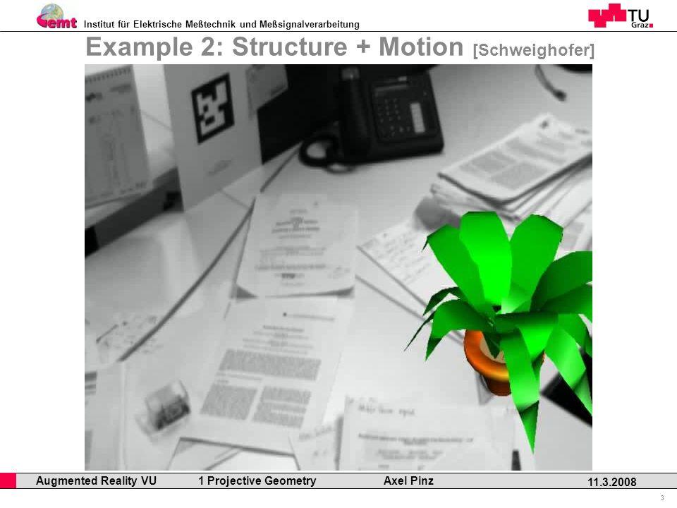 Institut für Elektrische Meßtechnik und Meßsignalverarbeitung Professor Horst Cerjak, 19.12.2005 3 11.3.2008 Augmented Reality VU 1 Projective Geometry Axel Pinz Example 2: Structure + Motion [Schweighofer]