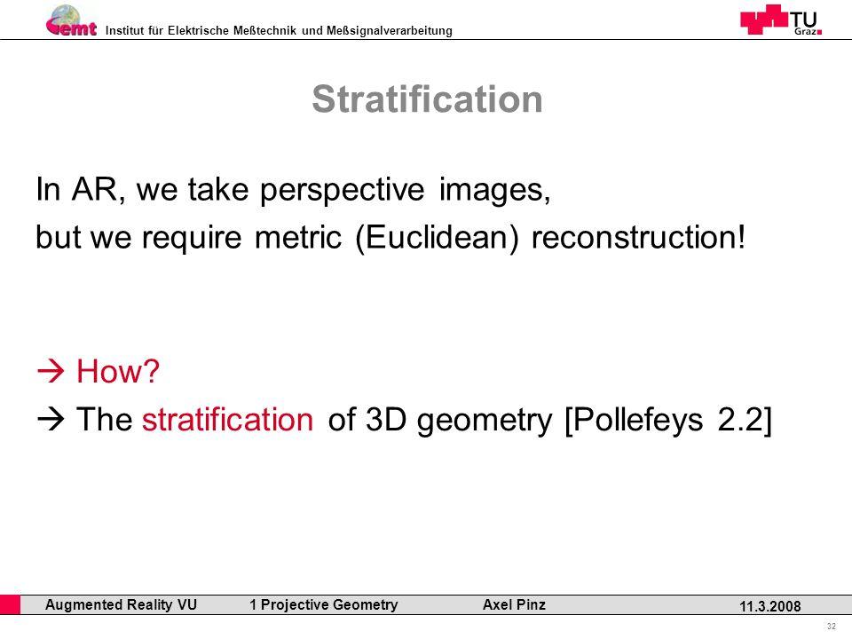 Institut für Elektrische Meßtechnik und Meßsignalverarbeitung Professor Horst Cerjak, 19.12.2005 32 11.3.2008 Augmented Reality VU 1 Projective Geometry Axel Pinz Stratification In AR, we take perspective images, but we require metric (Euclidean) reconstruction.