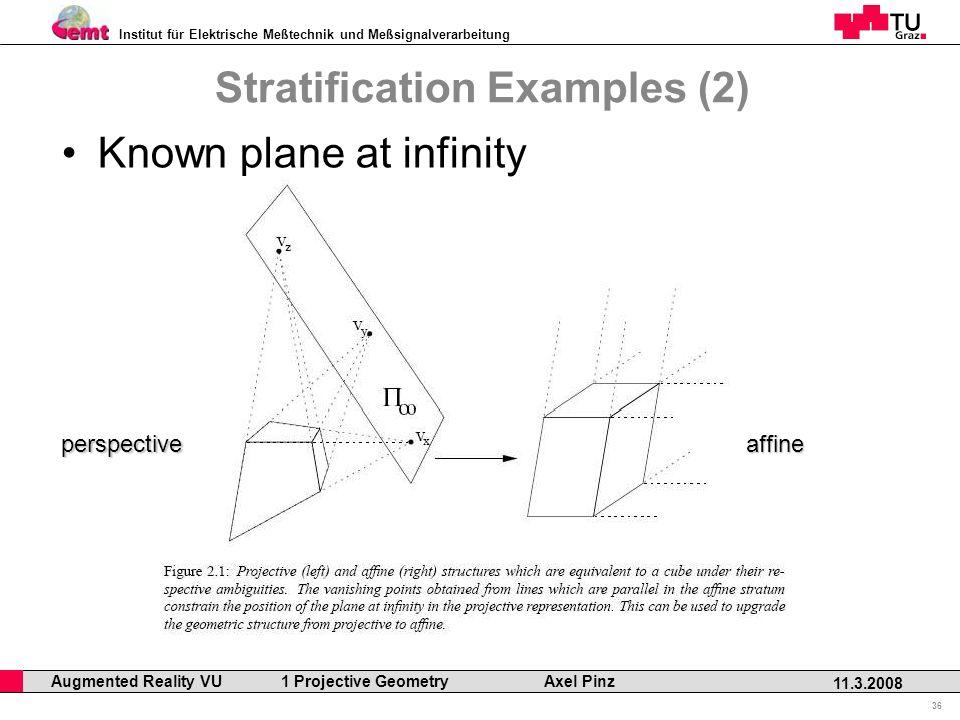 Institut für Elektrische Meßtechnik und Meßsignalverarbeitung Professor Horst Cerjak, 19.12.2005 36 11.3.2008 Augmented Reality VU 1 Projective Geometry Axel Pinz Stratification Examples (2) Known plane at infinity perspectiveaffine