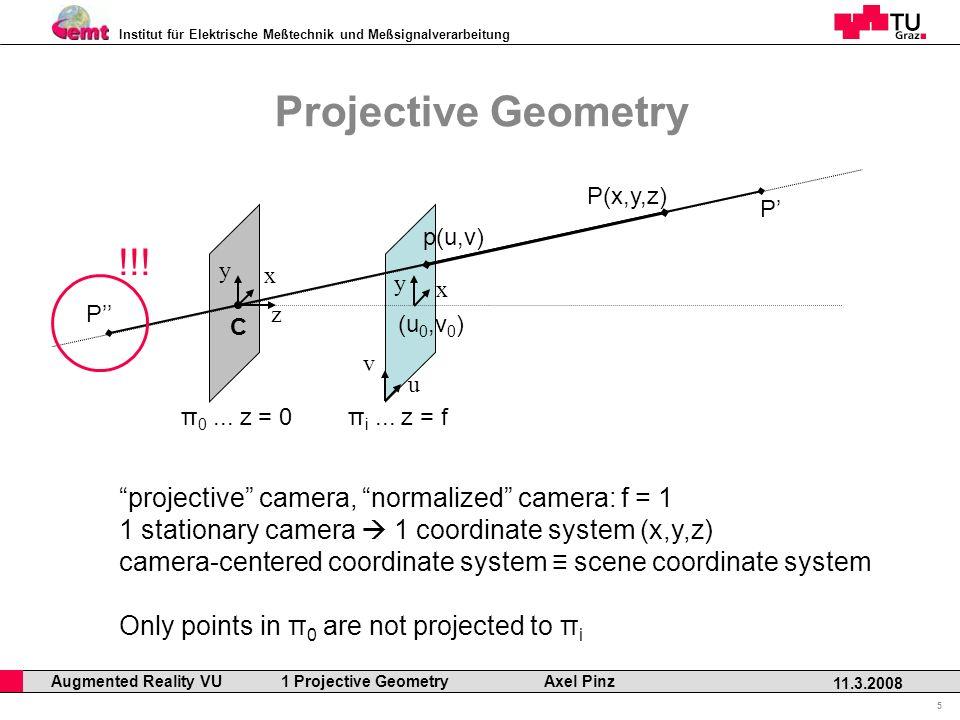 Institut für Elektrische Meßtechnik und Meßsignalverarbeitung Professor Horst Cerjak, 19.12.2005 5 11.3.2008 Augmented Reality VU 1 Projective Geometry Axel Pinz Projective Geometry π 0...