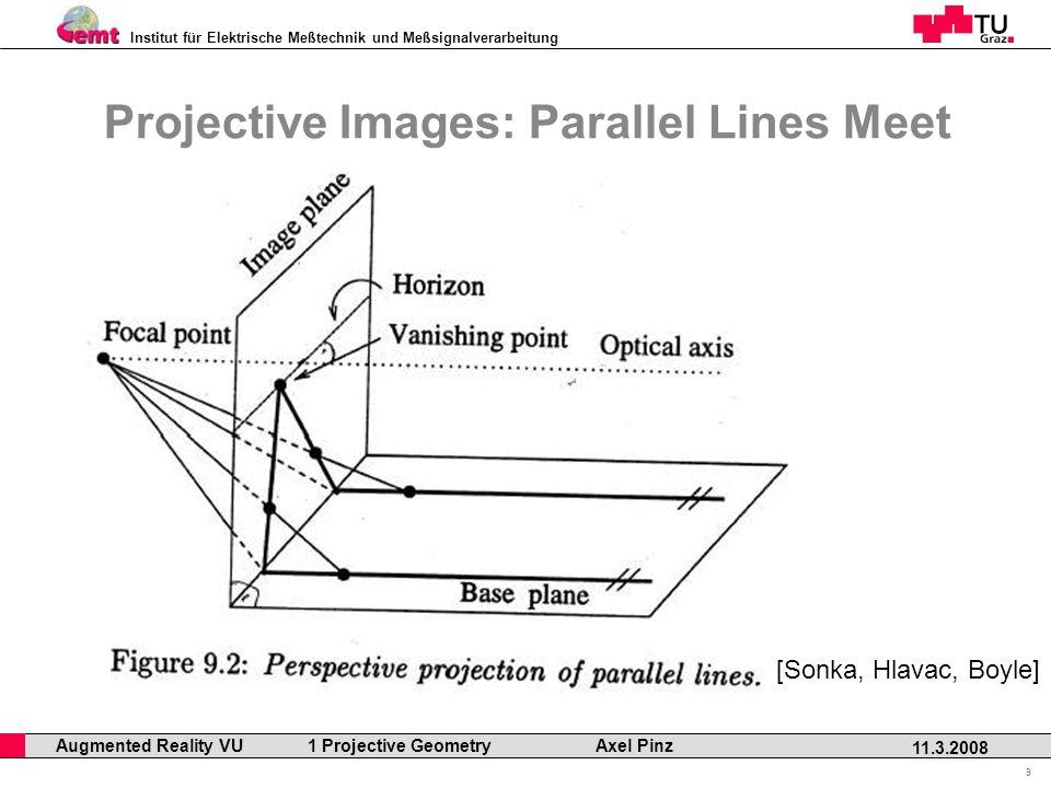 Institut für Elektrische Meßtechnik und Meßsignalverarbeitung Professor Horst Cerjak, 19.12.2005 9 11.3.2008 Augmented Reality VU 1 Projective Geometry Axel Pinz Projective Images: Parallel Lines Meet [Sonka, Hlavac, Boyle]